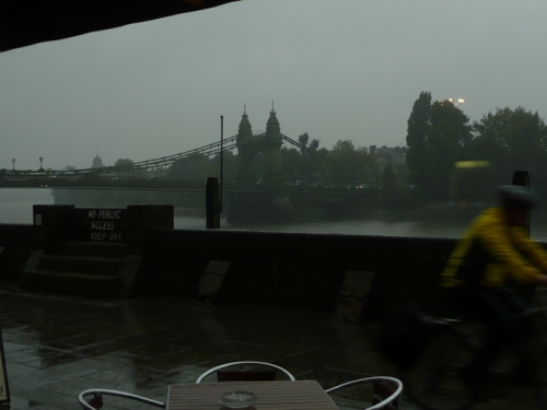 Rain on the banks of the Thames.