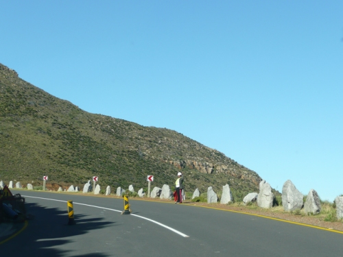 They are still finishing up the roadwork (DANGER?) and I am not too sure about those retaining rocks (DANGER!)