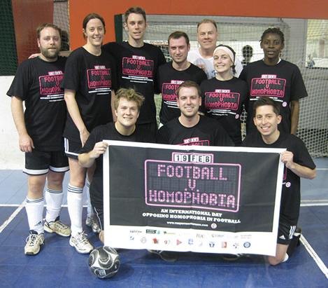 The Dixie Kicks support the Football v. Homphobia Initiative, February 19, 2010