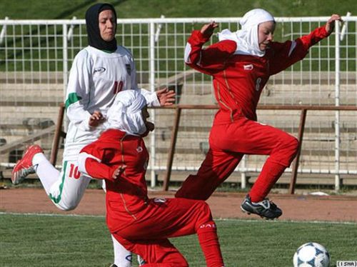 The Iranian women's national football team plays in hijab, but the youth Olympic team is not allowed. From www.rferl.org